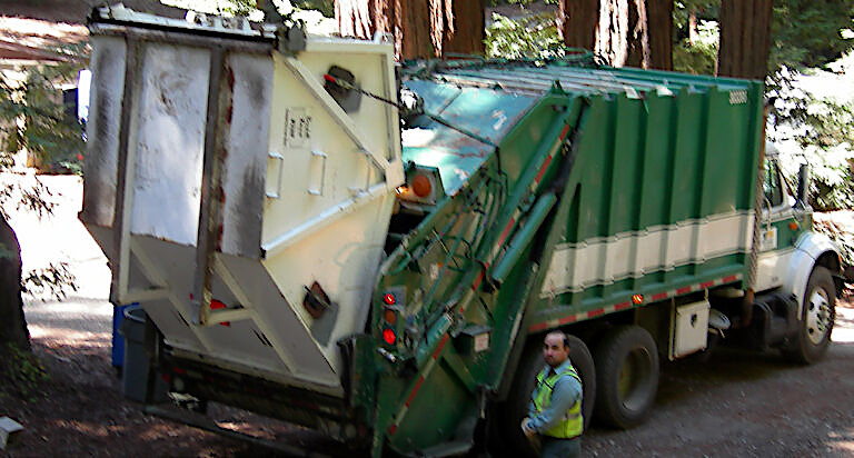 Emptying a Rear-Dumping Refuse Container